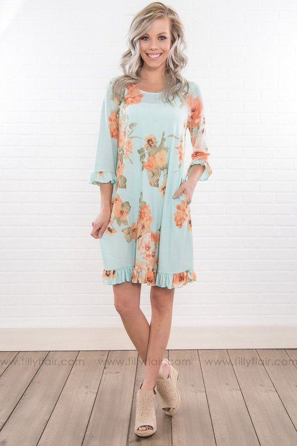 Sweet Success Floral Ruffle Dress In Light Blue