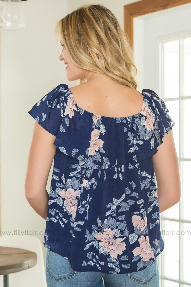 Ocean Front Floral Ruffle Top In Navy