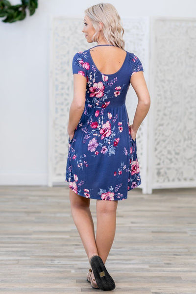 Wanted You To Know Short Sleeve Floral Dress in Periwinkle - Filly Flair