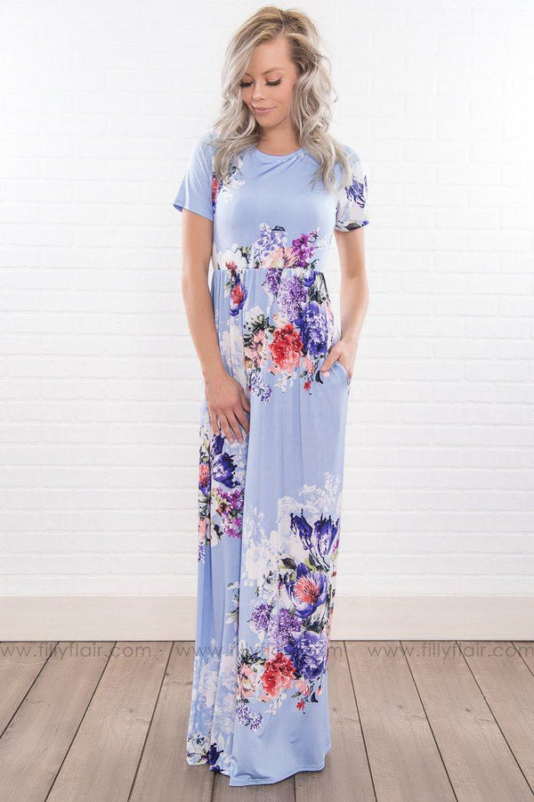 Breathe Deeply Floral Short Sleeve Maxi Dress In Sky Blue