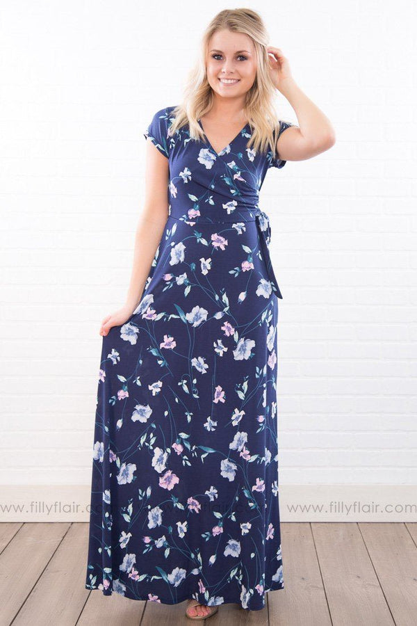 In Unity Floral Side Tie Maxi Dress In Navy