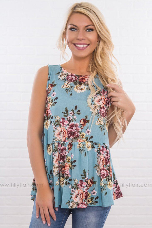 There's Still Time Floral Baby Doll Top In Dusty Blue