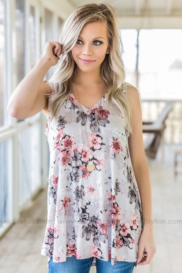 On My Dime Floral V Neck Tank Top In Slate