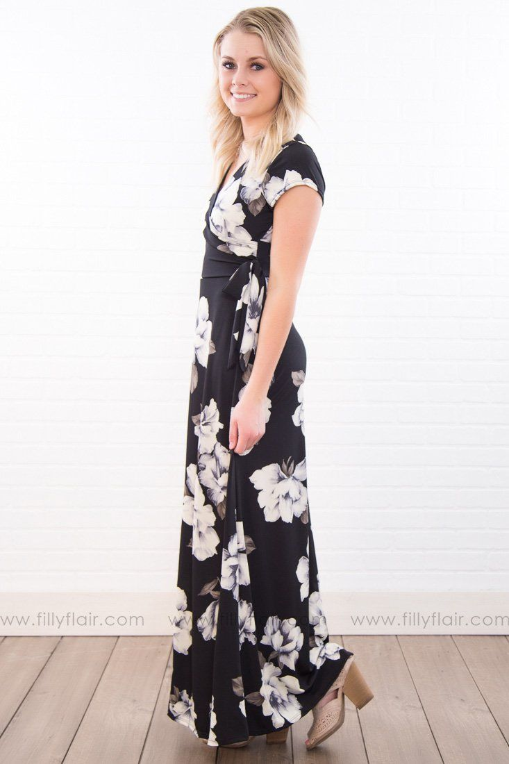 In Unity Floral Side Tie Maxi Dress In Black