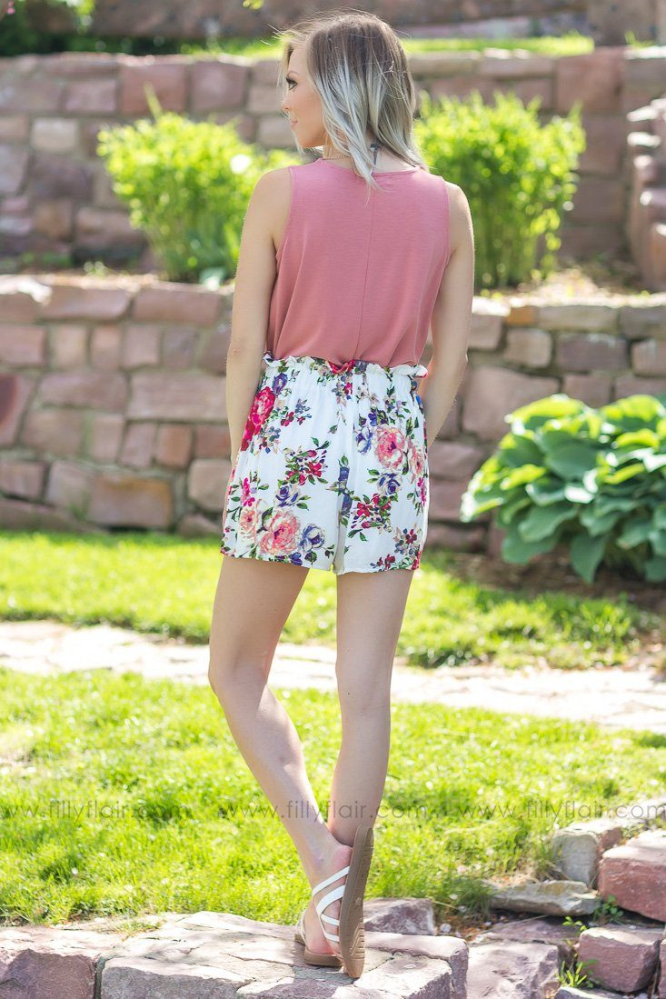 Garden Escape Floral Elastic Waist Tie Shorts In White - Filly Flair
