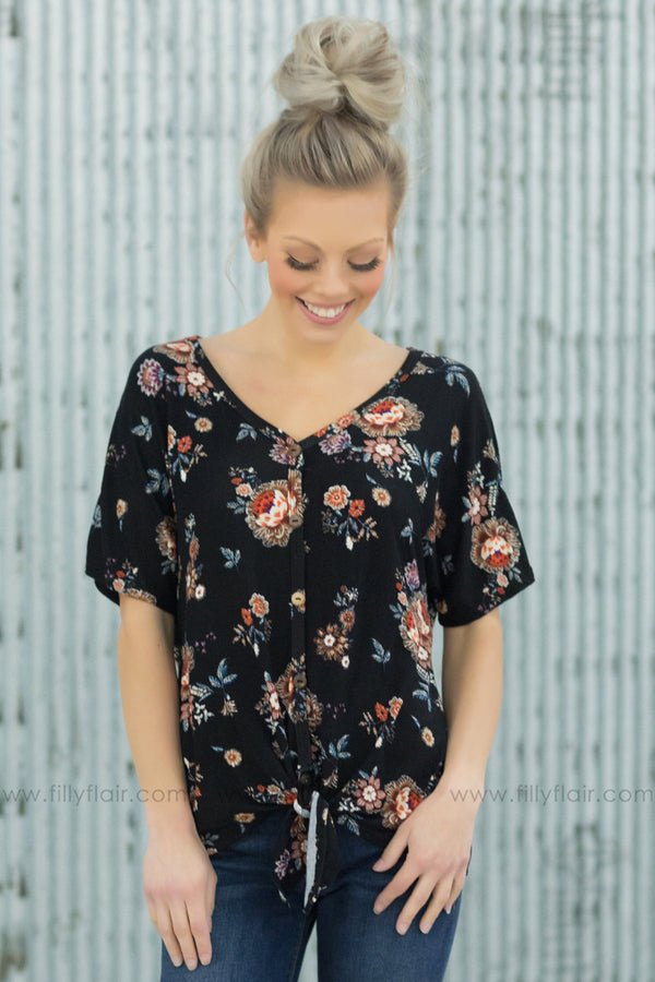 What You're Worth Short Sleeve Floral Tie Top in Black - Filly Flair