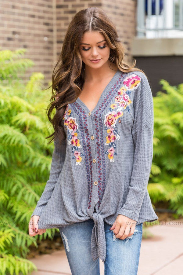 In My Dreams Floral Embroidered Knotted Top In Grey - Filly Flair