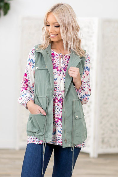 Wherever They Go Zip Up Utility Vest in Sage - Filly Flair