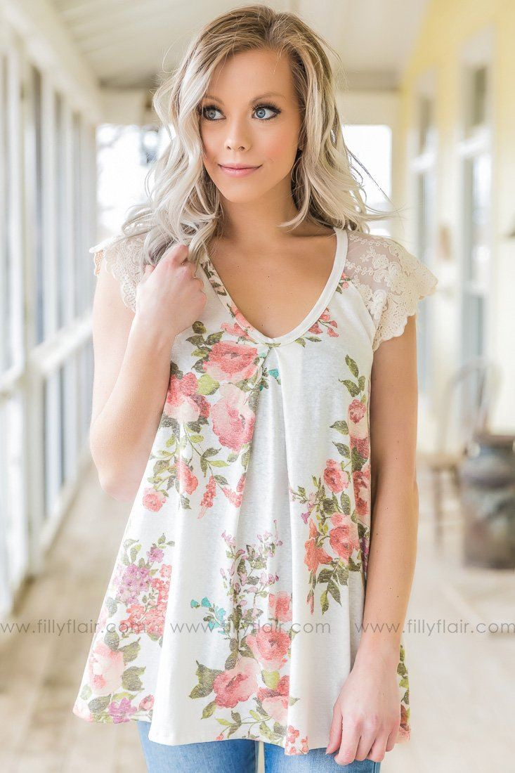 Everyone Can See Floral Lace V Neck Top In Ivory