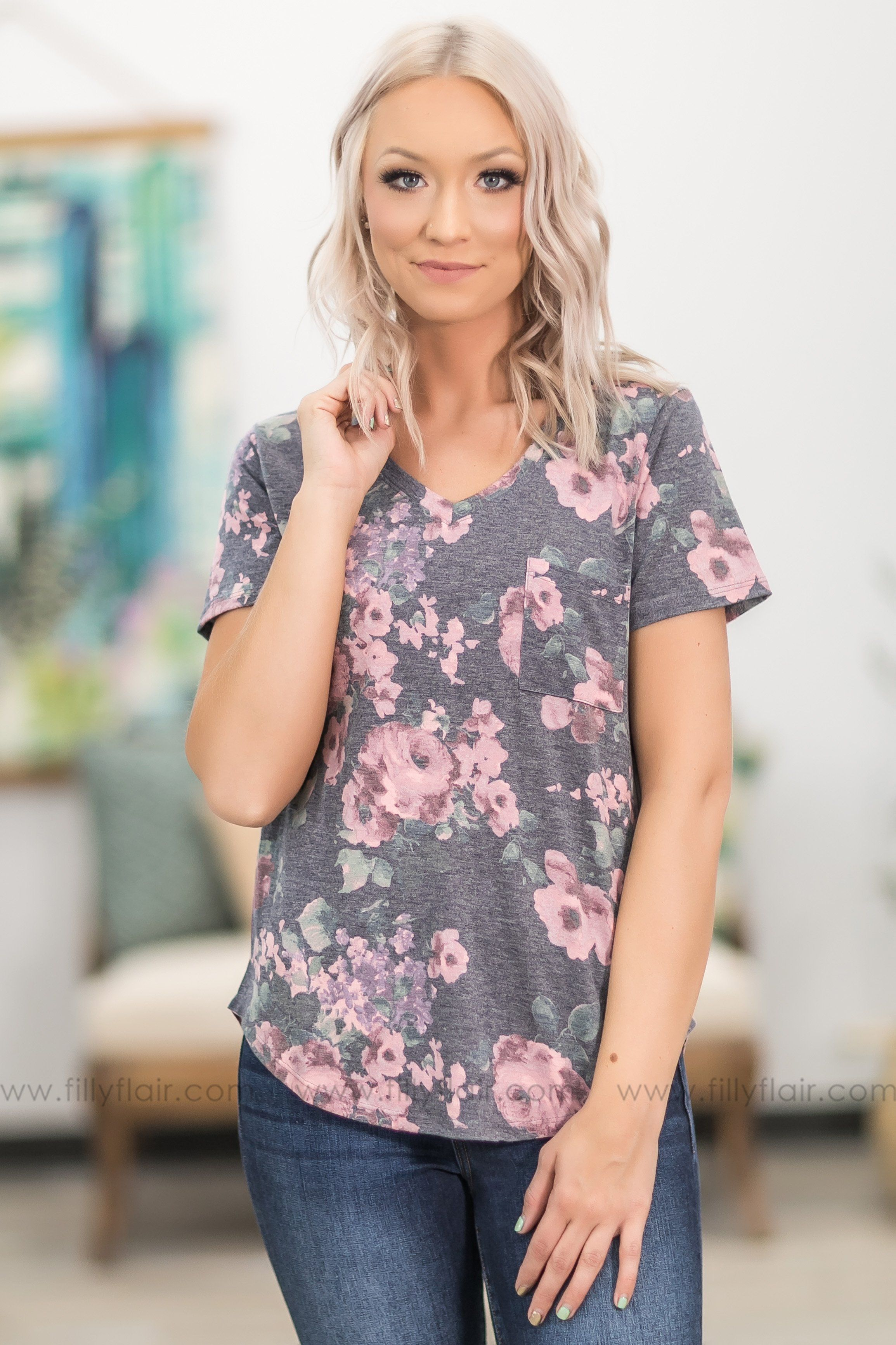 See You Smile Short Sleeve Chest Pocket Floral Top in Charcoal - Filly Flair