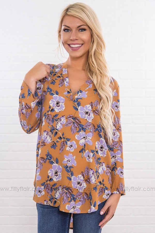 Hold You Hand Floral V Neck Top In Marigold