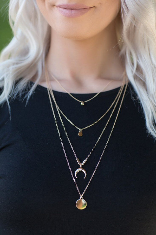 Bohemian Love Gold Layered Crescent Necklace - Filly Flair