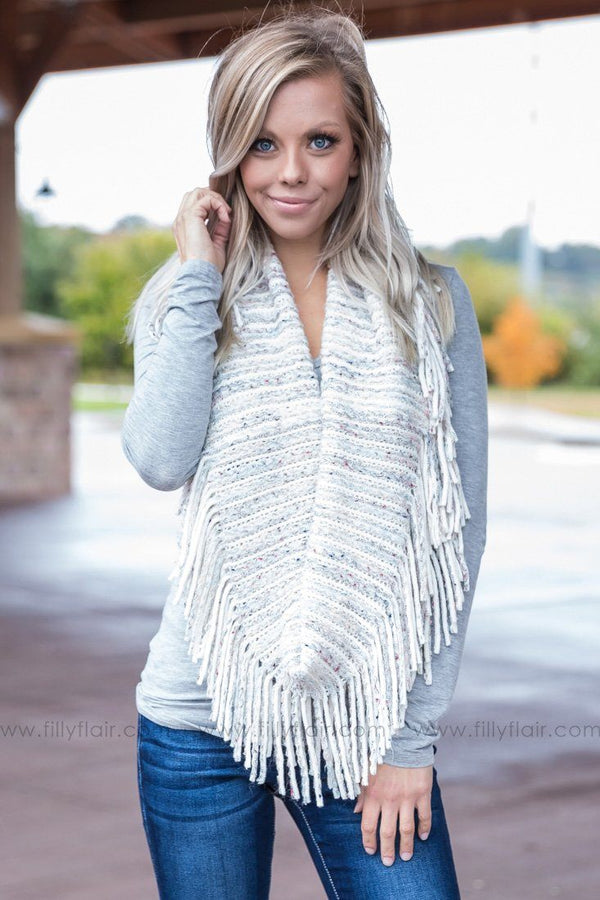 Get Cozy Fringe Infinity Scarf in Off White - Filly Flair