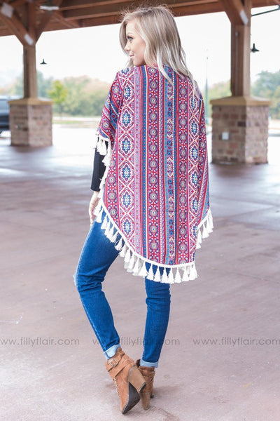 Catch You If You Fall Printed Tassel Kimono - Filly Flair