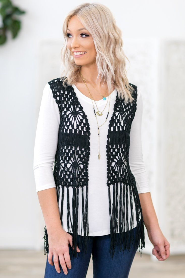 Fringed Out Sleeveless Open Crochet Vest In Black - Filly Flair