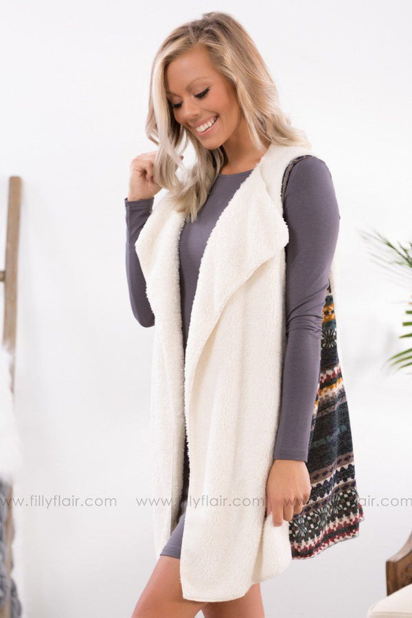 Swept Off Your Feet Printed Side Detail Faux Fur Vest in Off White - Filly Flair