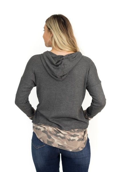 Looking At Her Camo Detail Long Sleeve Top in Charcoal - Filly Flair