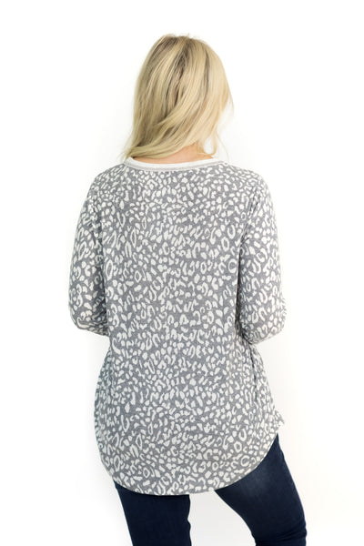 We Are Better Together Animal Print Long Sleeve Top in Grey - Filly Flair