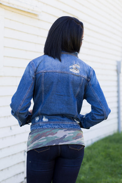 Celeste Cello Long Sleeve Distressed Denim Jacket - Filly Flair