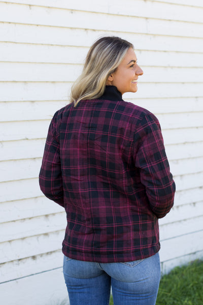Wish This Never Ends Plaid Zip Up Flannel Jacket in Maroon - Filly Flair