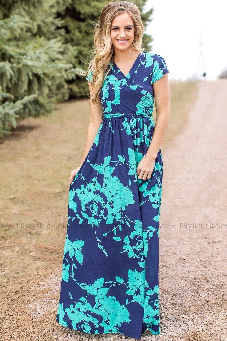 Navy and Mint Long Maxi Dress