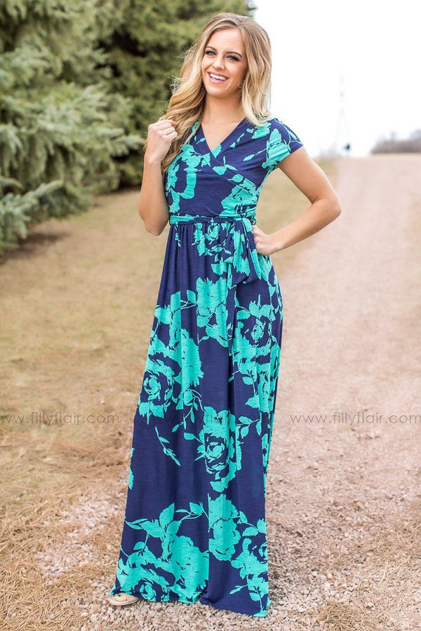 Navy and Mint Floral Maxi Dress