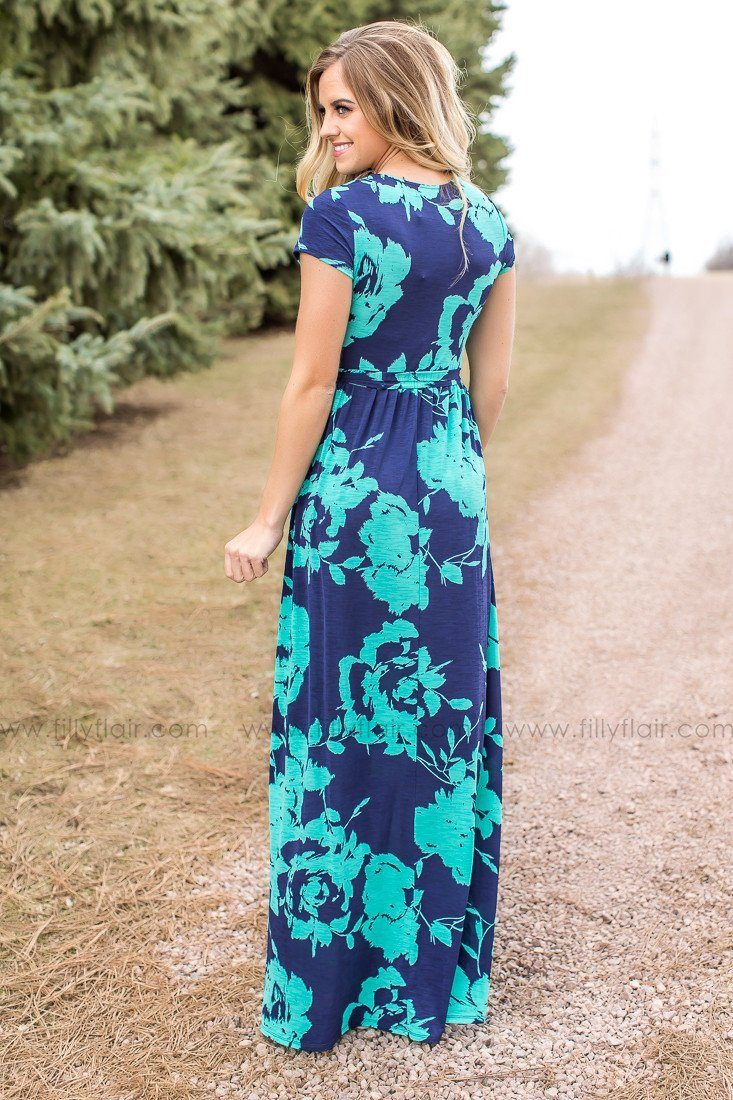 Modest maxi dress in navy and mint