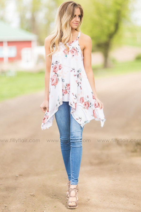 Pre-Order Heart Open Floral Tank in Ivory