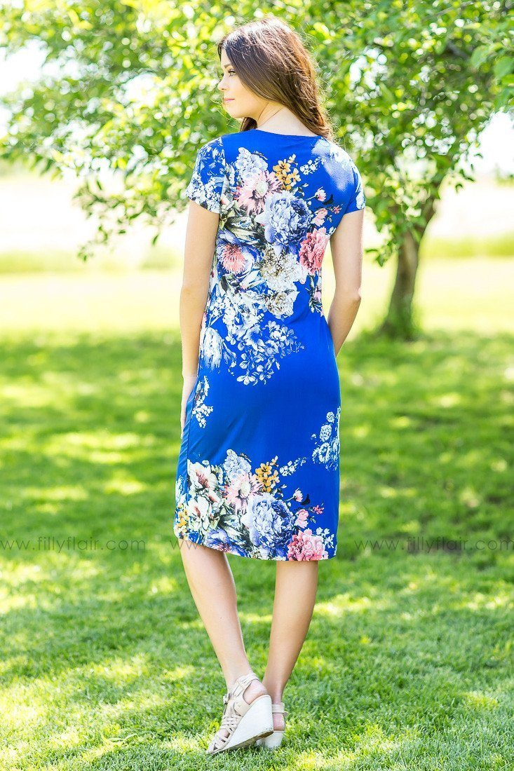 The Time of My Life Floral Midi Dress in Royal Blue