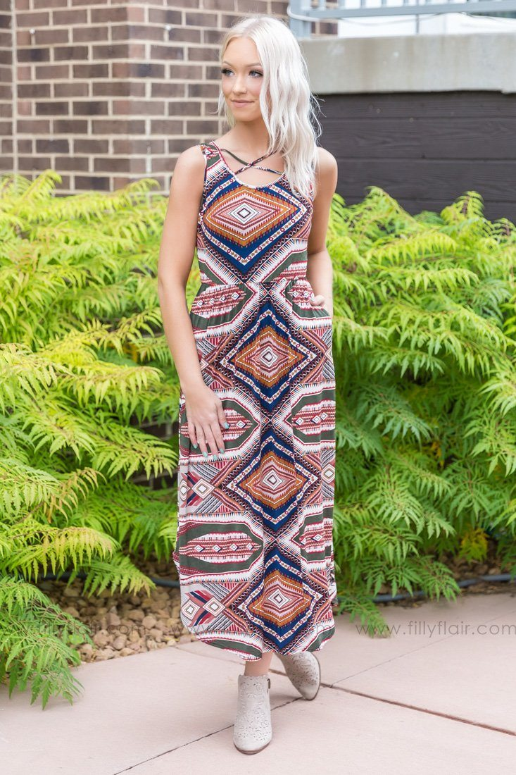 Back Porch Dancing Aztec Dress In Olive Burgundy Navy - Filly Flair