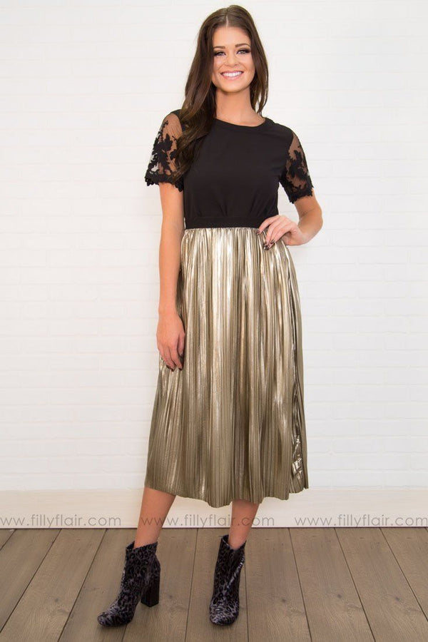 Dance With Me Pleated Skirt In Gold Metallic - Filly Flair