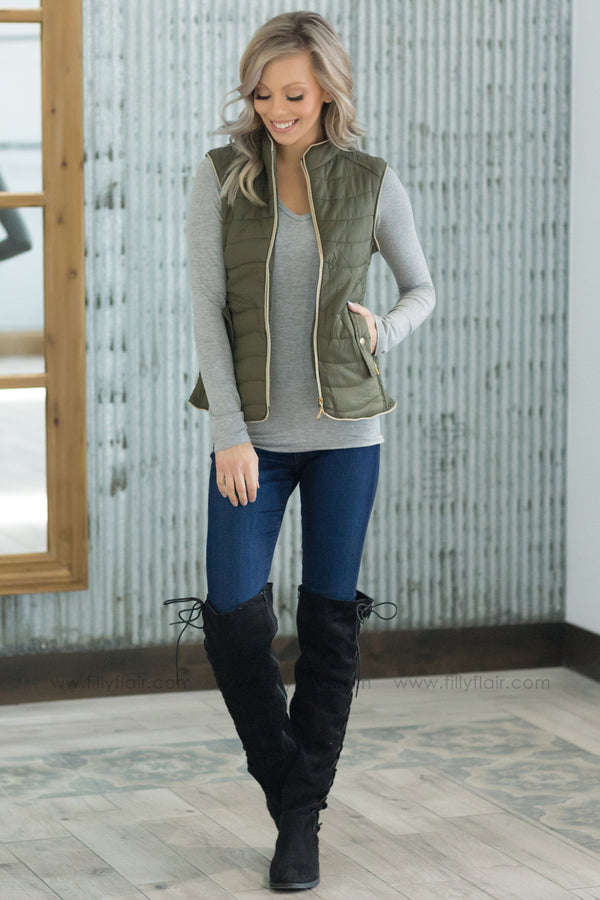 A New Beginning Puffy Zip Up Vest In Olive - Filly Flair