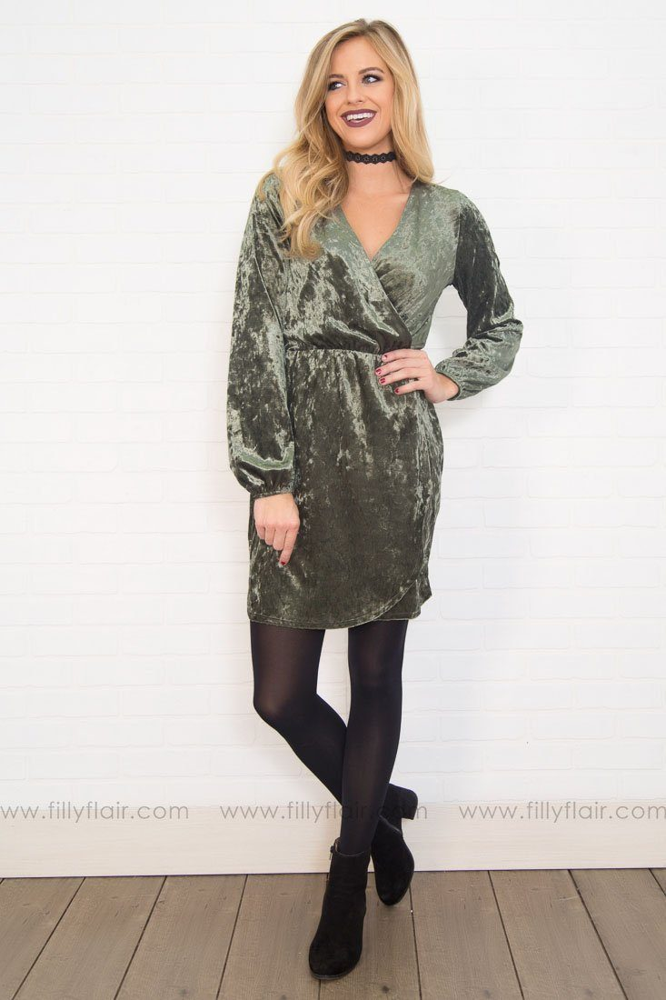 The Gala Velvet Wrap Mini Dress in Olive