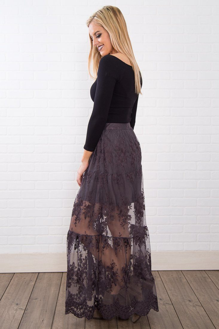 Runway Girl Button Up Lace Skirt In Charcoal