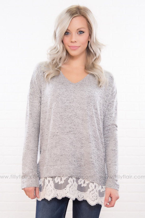 Lace Paradise Long Sleeve Top In Heather Grey