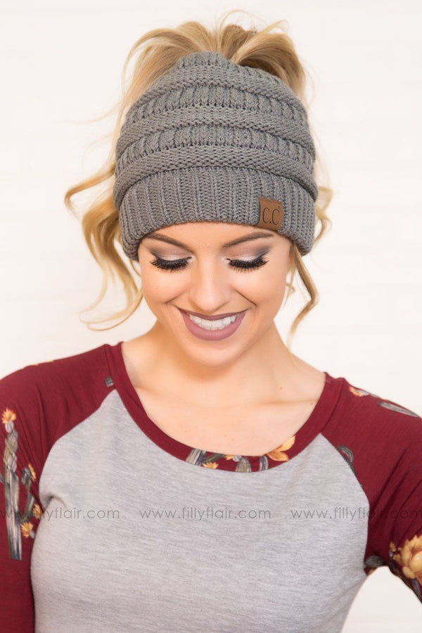 CC Beanie Ponytail in Grey