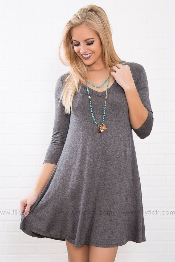 That's So Perfect Charcoal V Neck Mini Dress