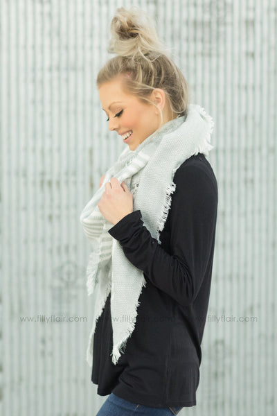 *082719 Silver Linings Ivory Striped Blanket Scarf in Grey - Filly Flair