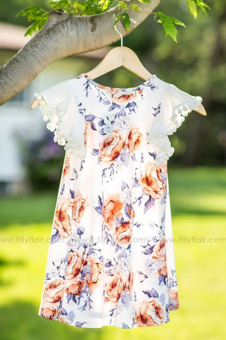 KIDS: IVORY Floral Printed Dress w/ Pom Pom Short Sleeves