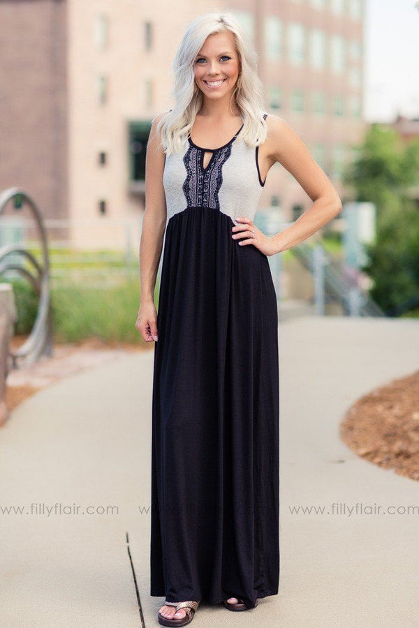 All Along Lace Detail Gray Colorblock Maxi Dress