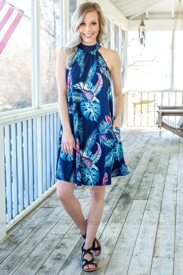 Tropical Escape Leaf Print High Neck Dress In Navy