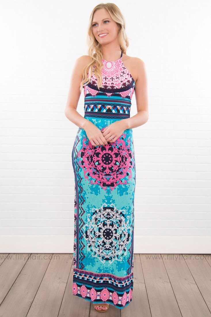 Nowhere To Be Printed Halter Maxi Dress In Aqua