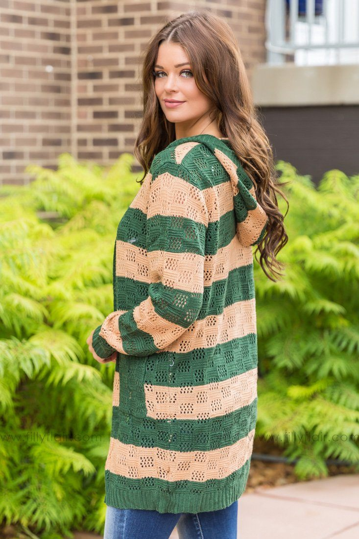 Be Free Striped Hooded Pocket Cardigan In Forest Camel - Filly Flair