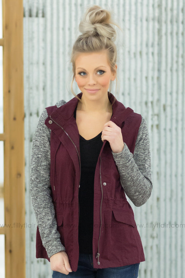 All Buttoned Up Long Sleeve Grey Hooded Jacket in Maroon - Filly Flair