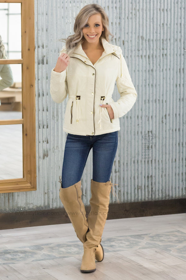 Warm Thoughts Quilted Hooded Zip Up Jacket in Ivory - Filly Flair