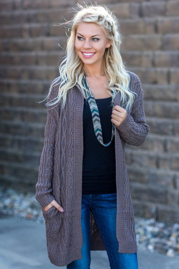 Run Into Her Long Hooded Sweater Cardigan In Mocha - Filly Flair