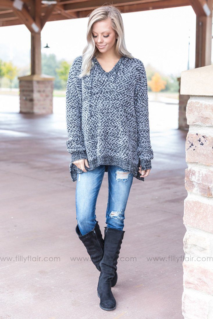 Lean On Me Fluffy Hooded Sweater in Black and Grey - Filly Flair