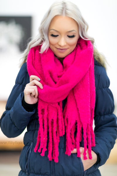 Wrap You Up Long Fringe Scarf in Fuchsia - Filly Flair