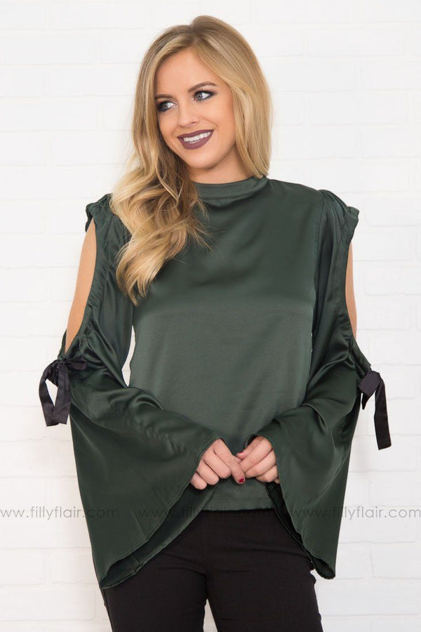 So Divine Cold Shoulder Tie Top in Hunter Green
