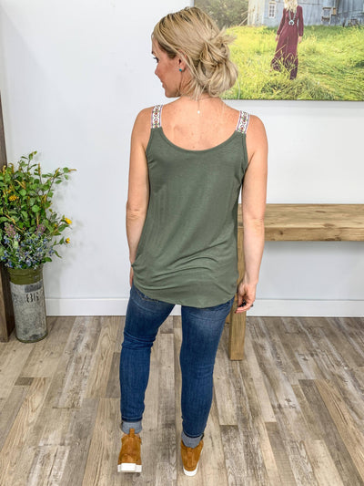 Play Something Country Twisted Hem Embroidered Strap Tank Top in Olive - Filly Flair